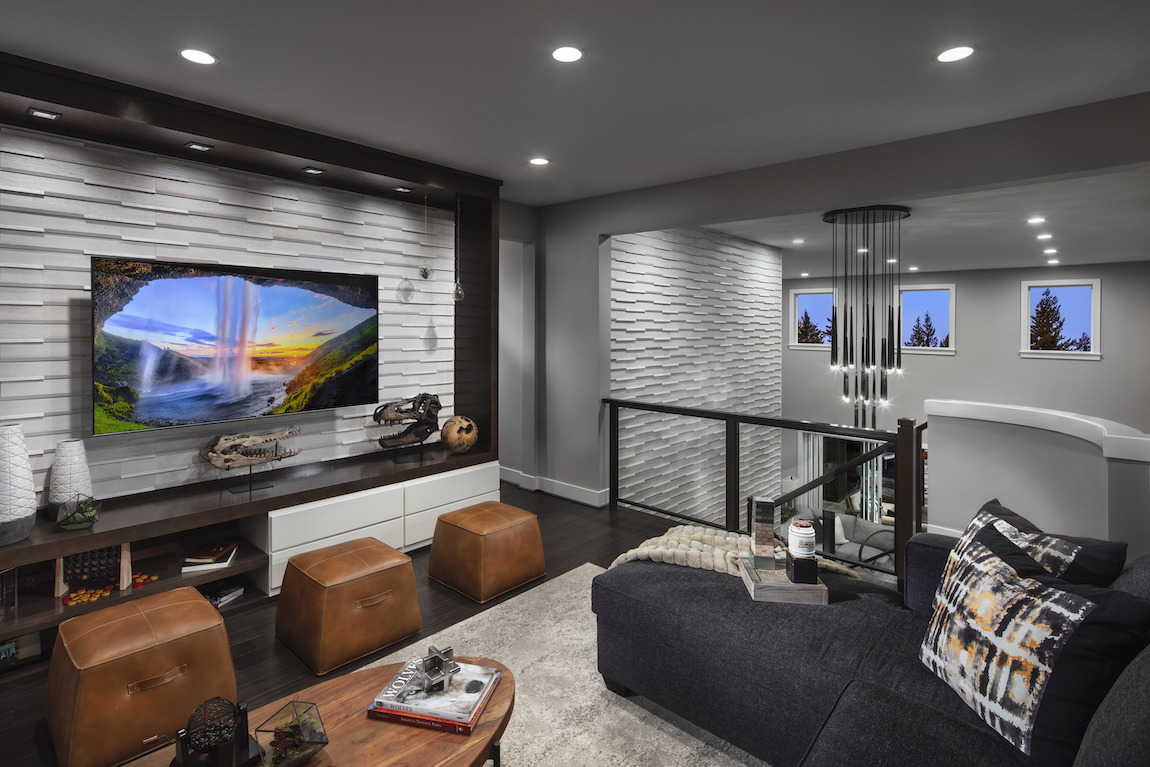Luxe loft featuring entertainment area