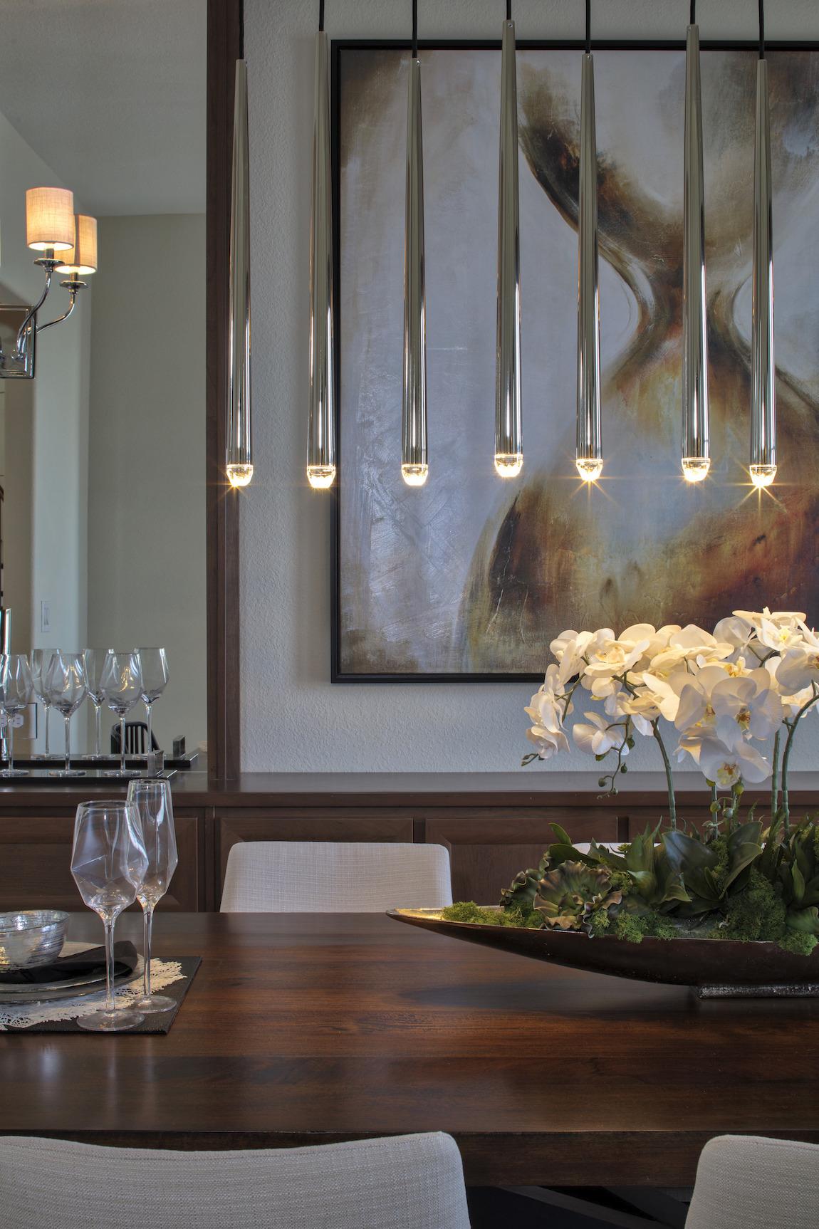Modern linear pendant dining room lighting