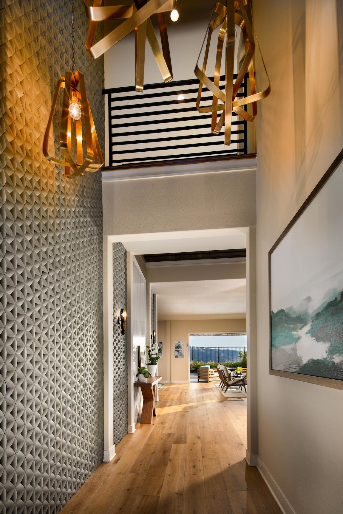Entry with geometric and metal wall accents.