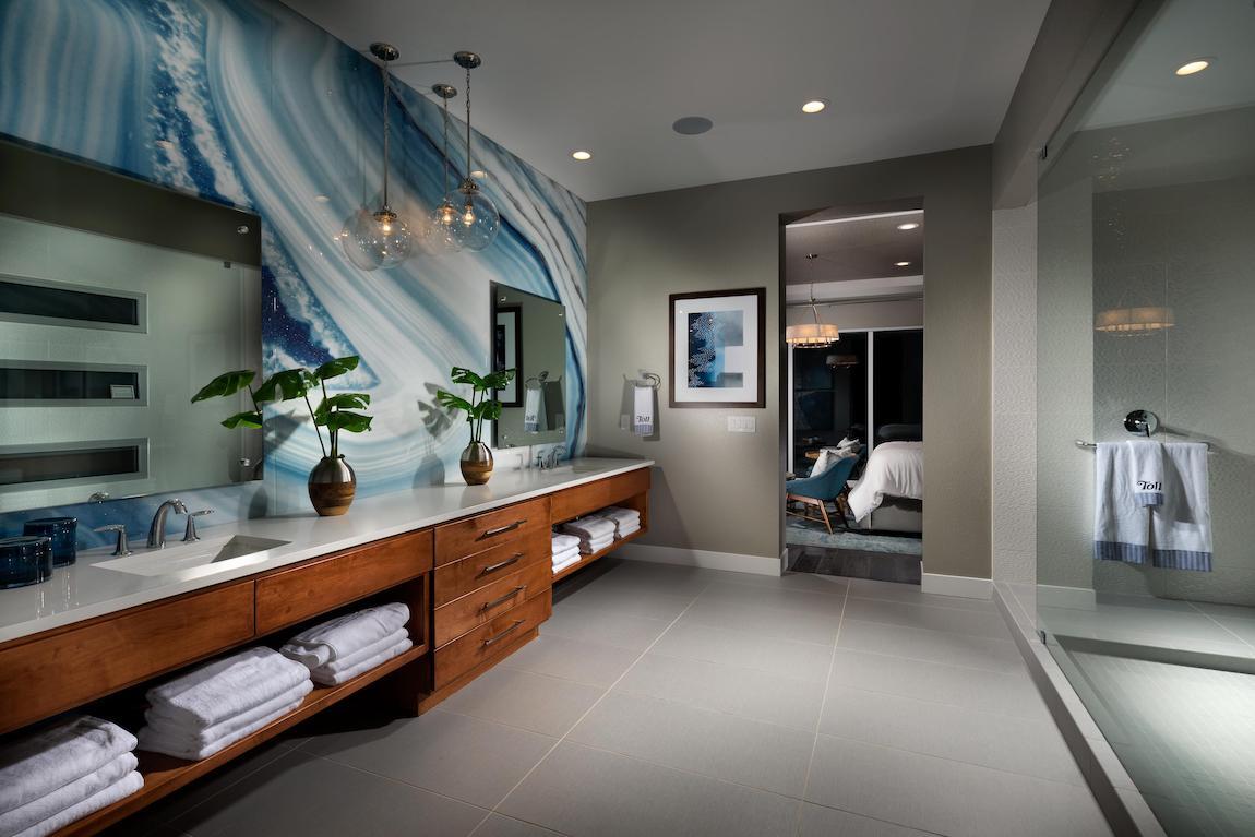 Vibrant bathroom with dazzling vanity display