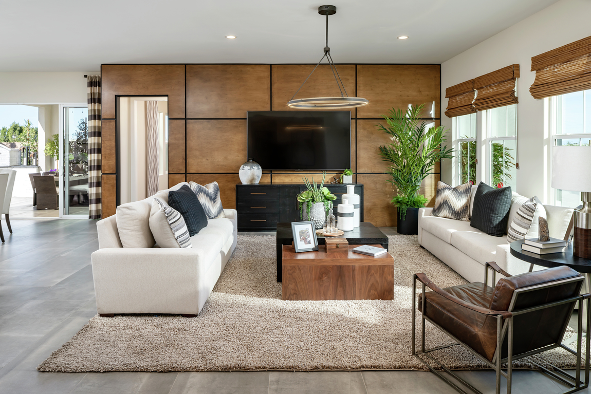 Living room with wood panel accent wall for a contemporary design