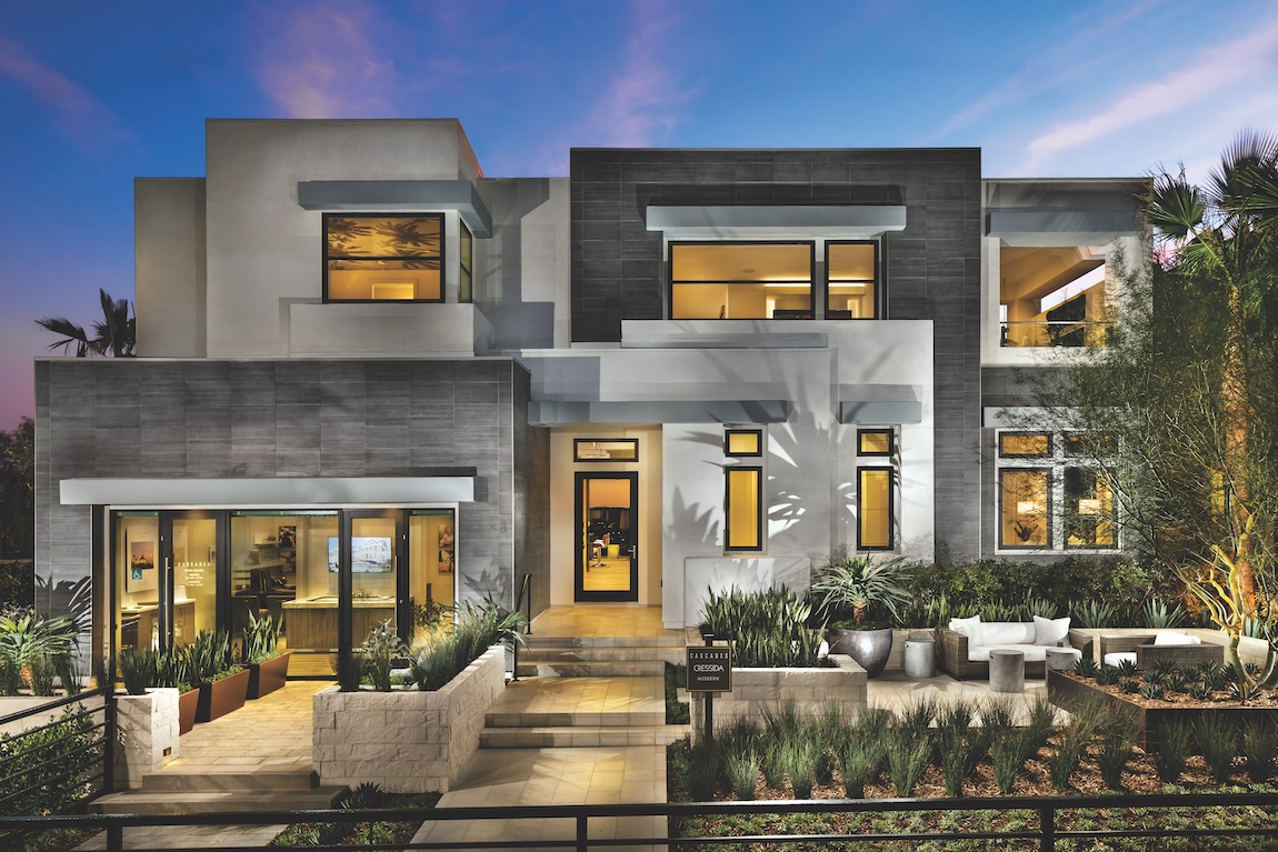 Home with innovative architectural design with stone features and smooth modern lines.