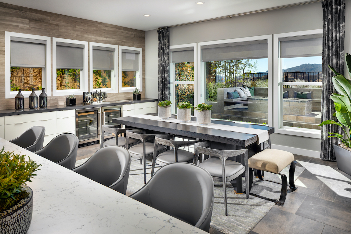 Modern breakfast nook table with gray color scheme in a modern kitchen.