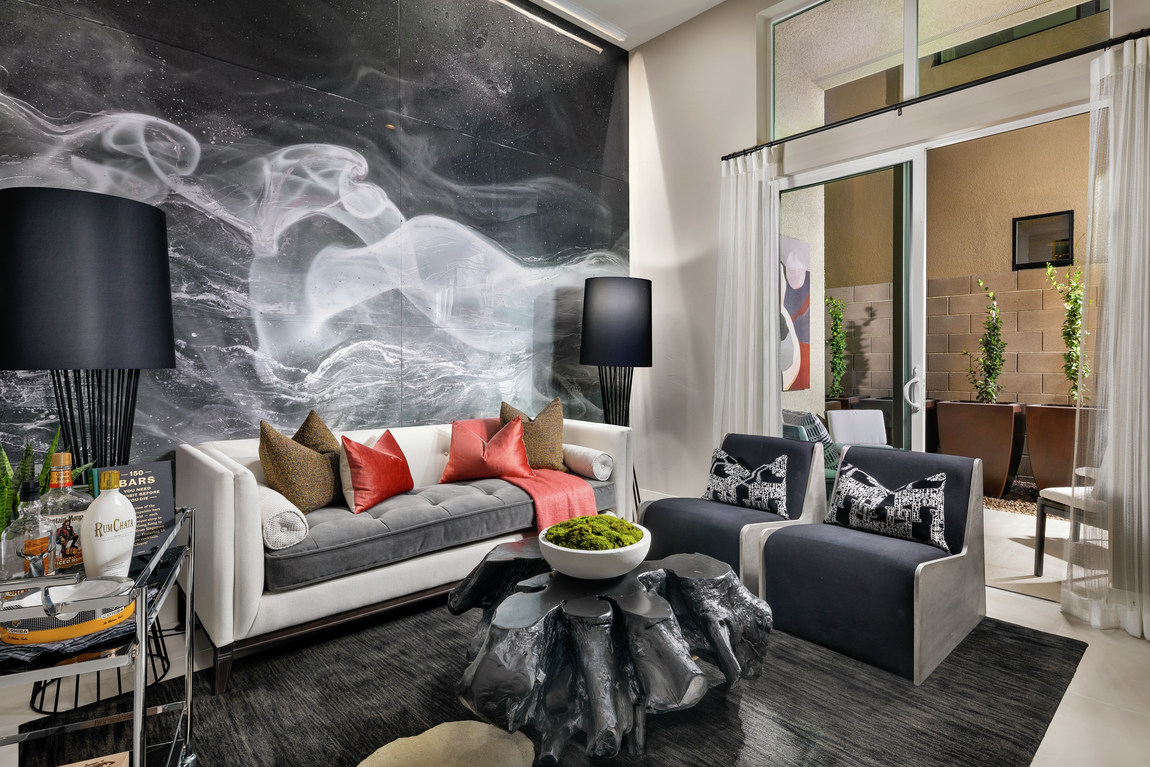 Hand painted mural with swirls and gray color scheme