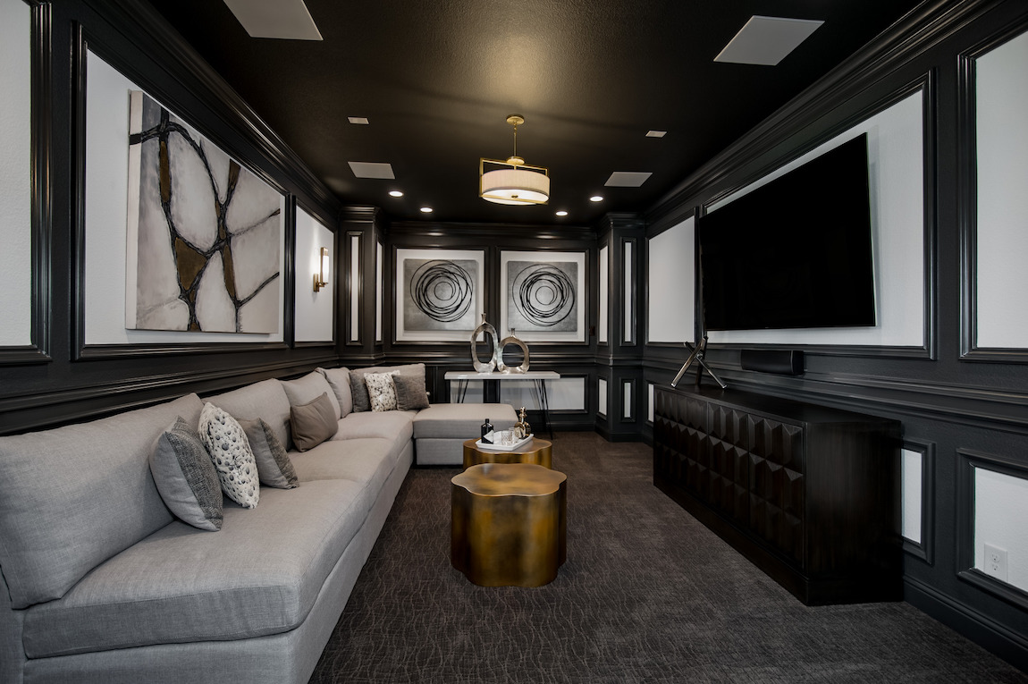Bonus Room converted into a sophisticated entertainment room.