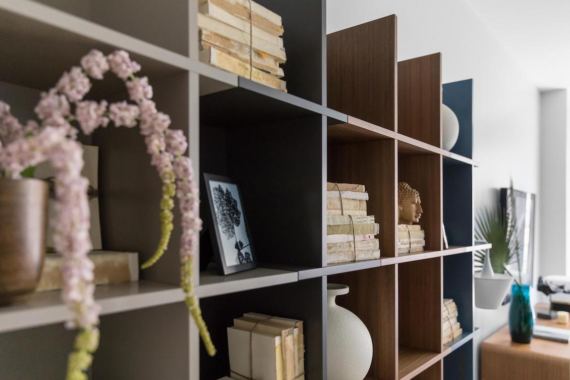 Shelving filled with mementos and personal keepsakes