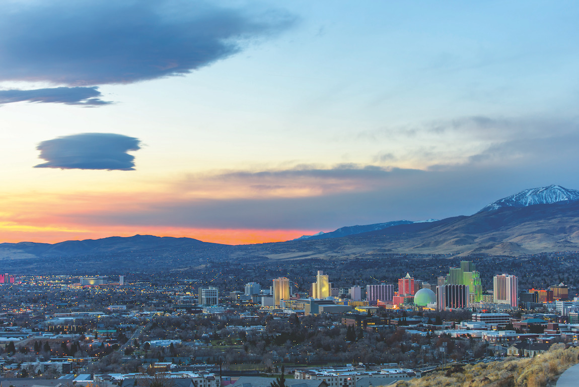 Morning view of Reno, Nevada