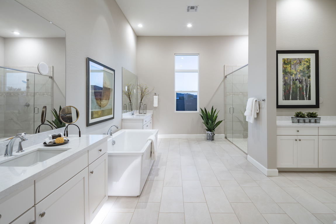 Master bathroom filled with interior plants to add a dash of vibrancy to space