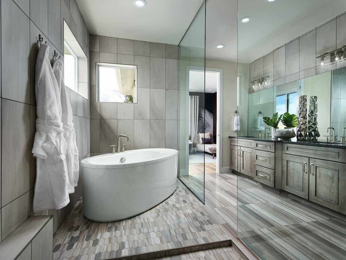 Luxe master bathroom with sleek interior design and neutral tones