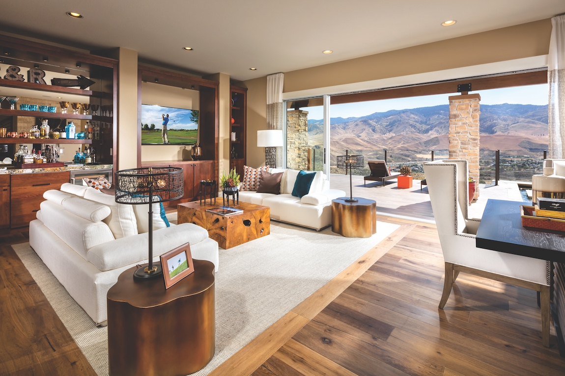 Open concept Toll Brothers model home overlooking mountains in Nevada.