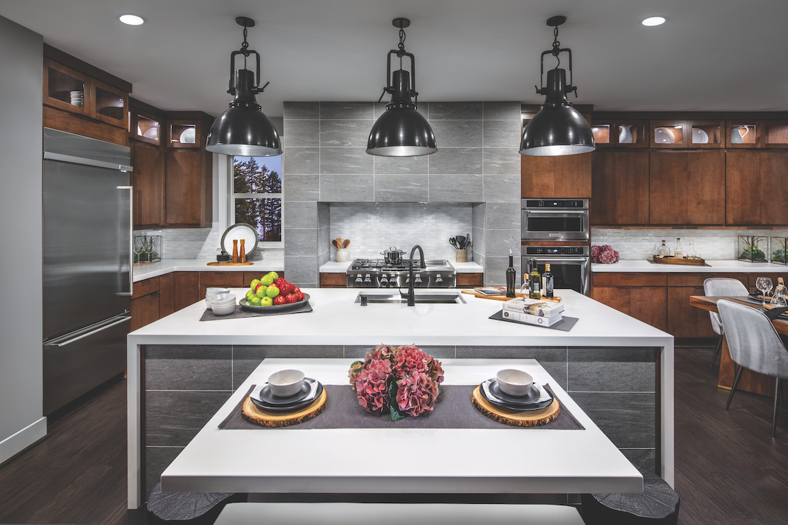 Modern kitchen island with multiple design features