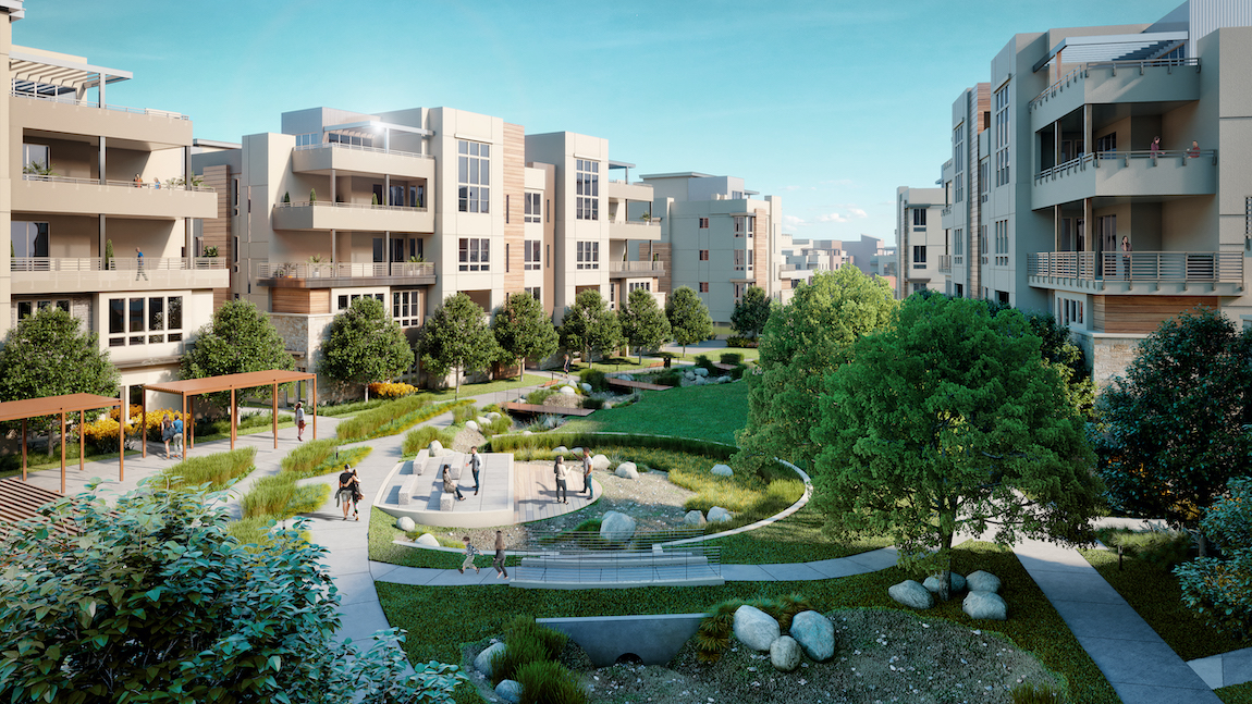 Metro Crossing courtyard featuring landscape design, walking paths and areas for families to spend time.