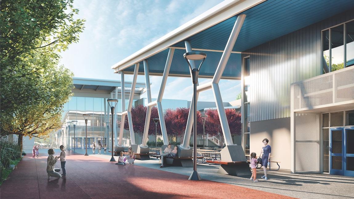 Exterior building of resort-style amenities at Metro Crossing in California.