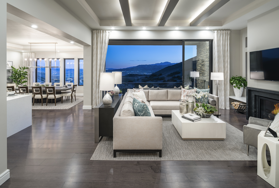 Toll Brothers model home in Canyon Point at Traverse Mountain in Utah overlooking the Rocky Mountains.