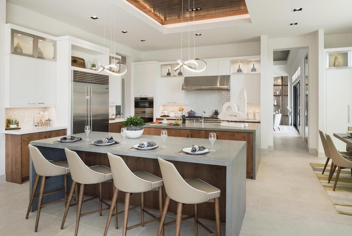 Luxe kitchen layout highlighted by double island design