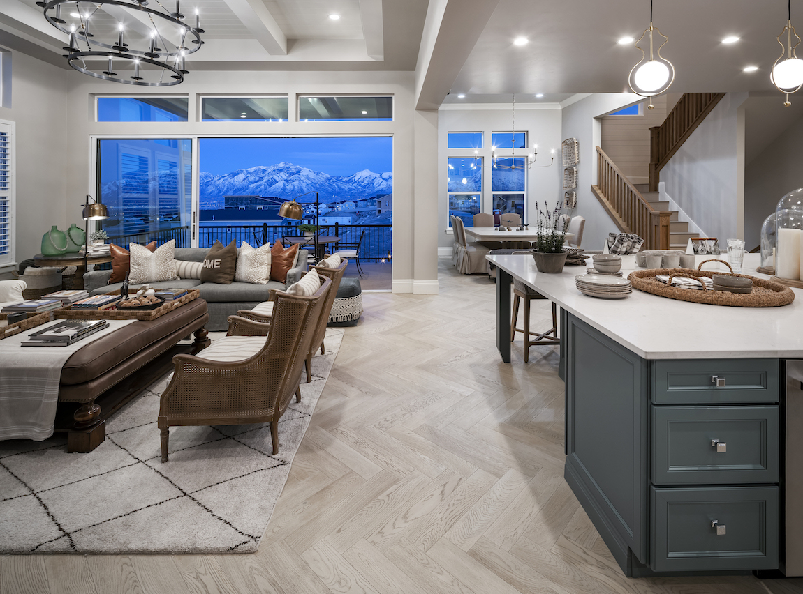 View of Rocky Mountains from the inside of a Toll Brothers model home at Toll Brothers at Rosecrest.