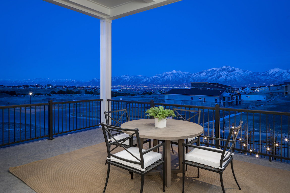 View of Rocky Mountains from the patio of a Toll Brothers model home.