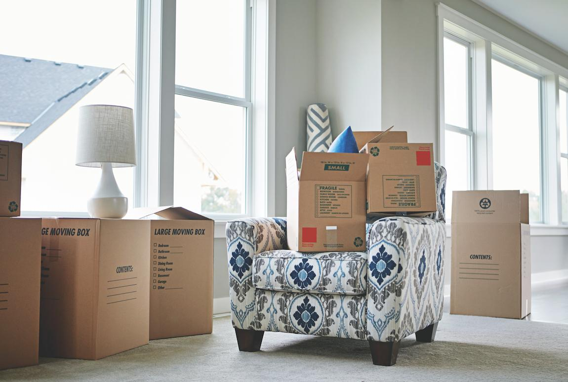 Moving boxes on chair