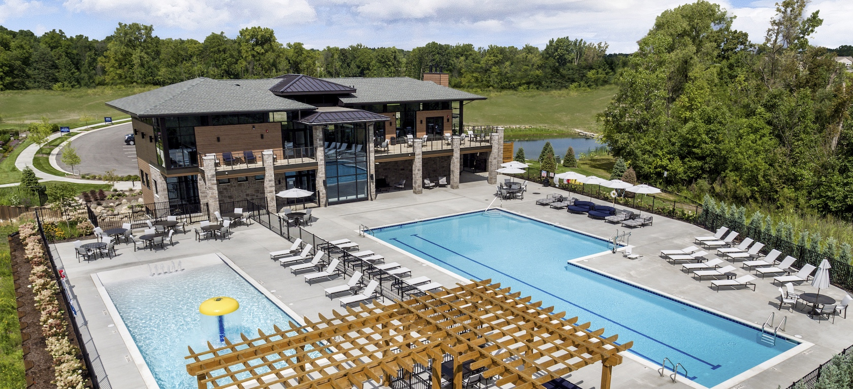 Aerial view of clubhouse and pool at North Oaks of Ann Arbor community.