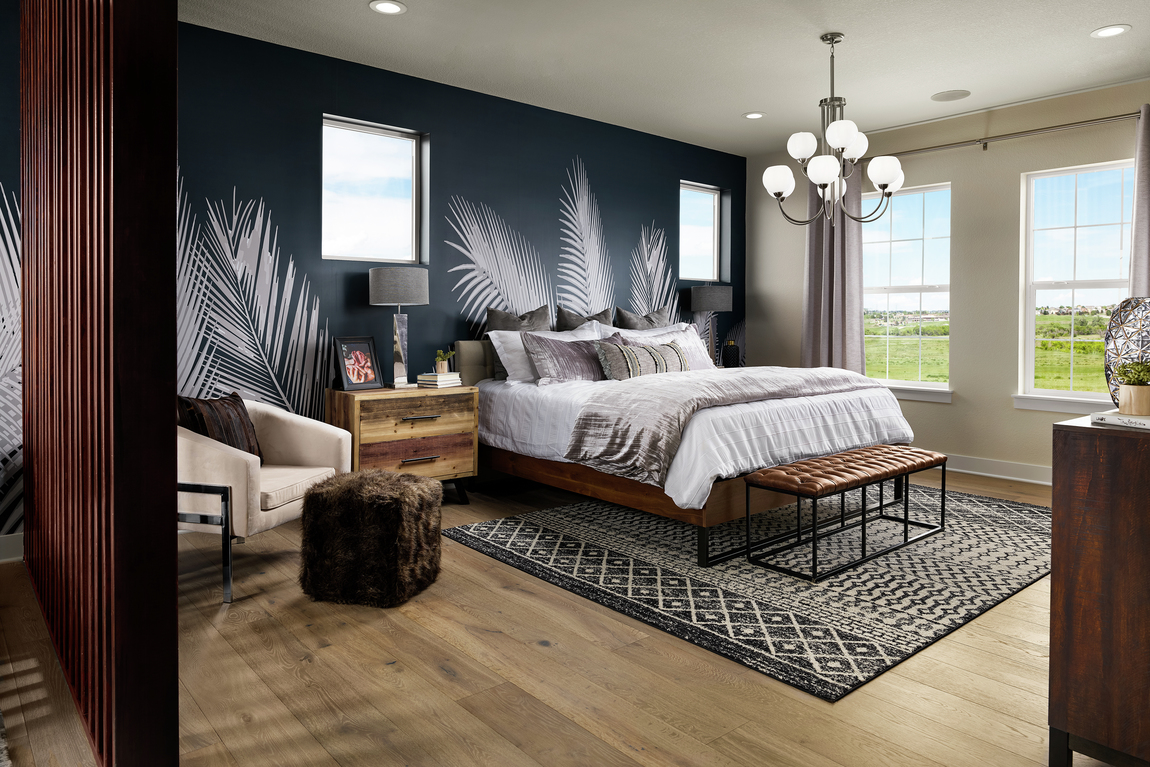 Bedroom featuring gorgeous layering and textiles