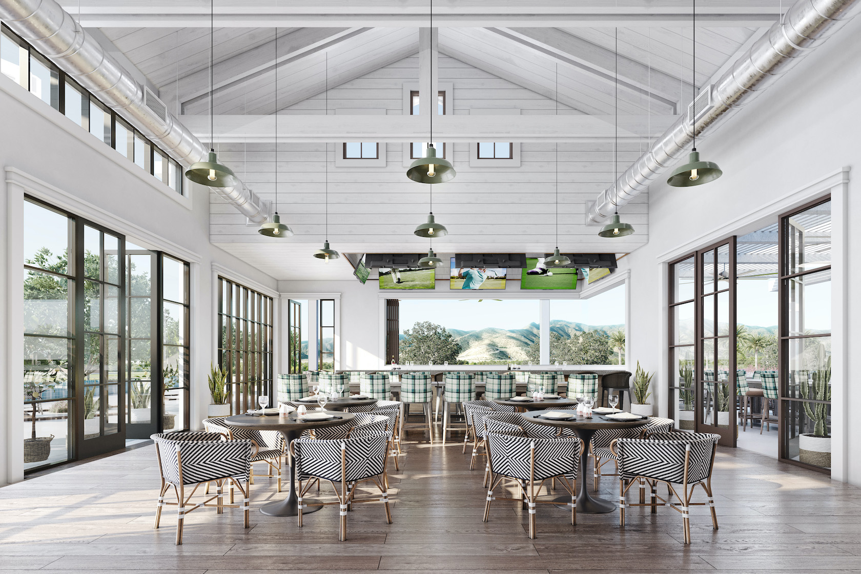 Sterling Grove Restaurant featuring high ceilings, tables and open windows