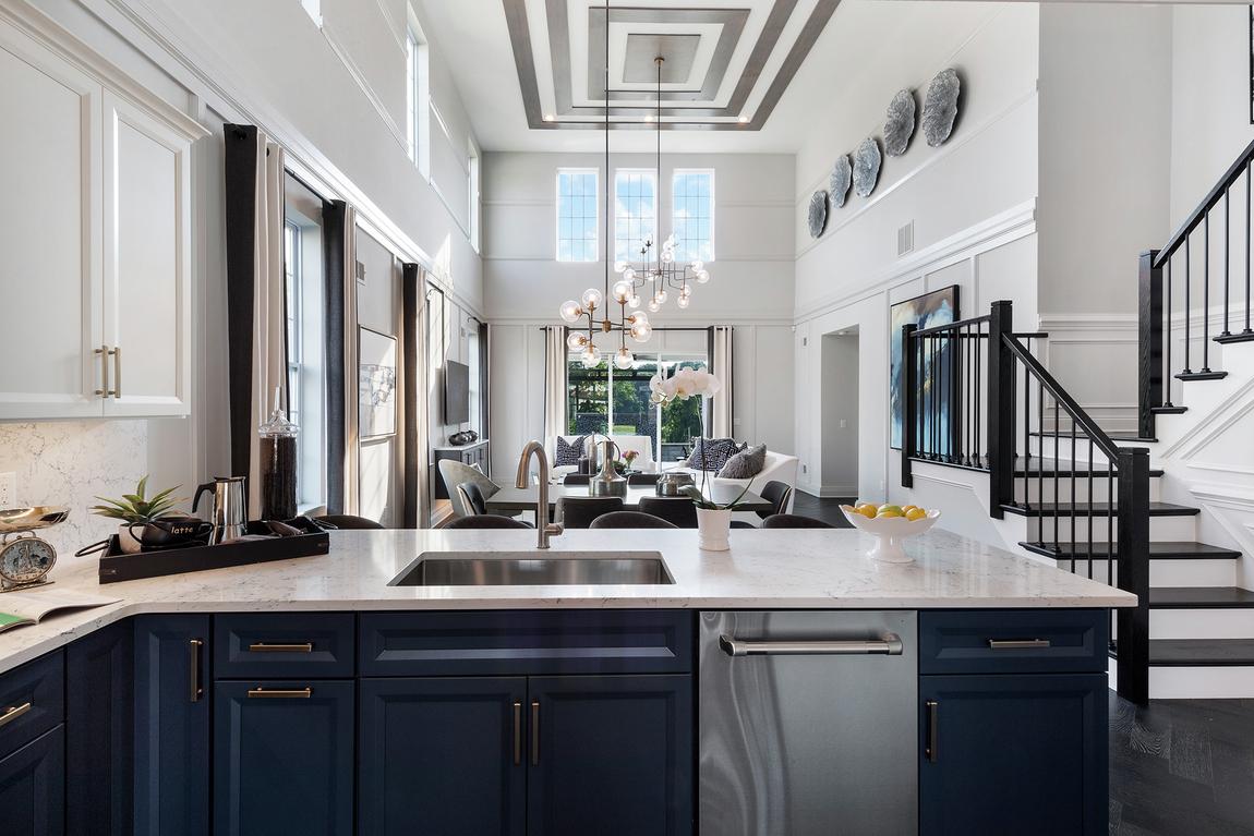 Luxury kitchen featuring white quartz countertops