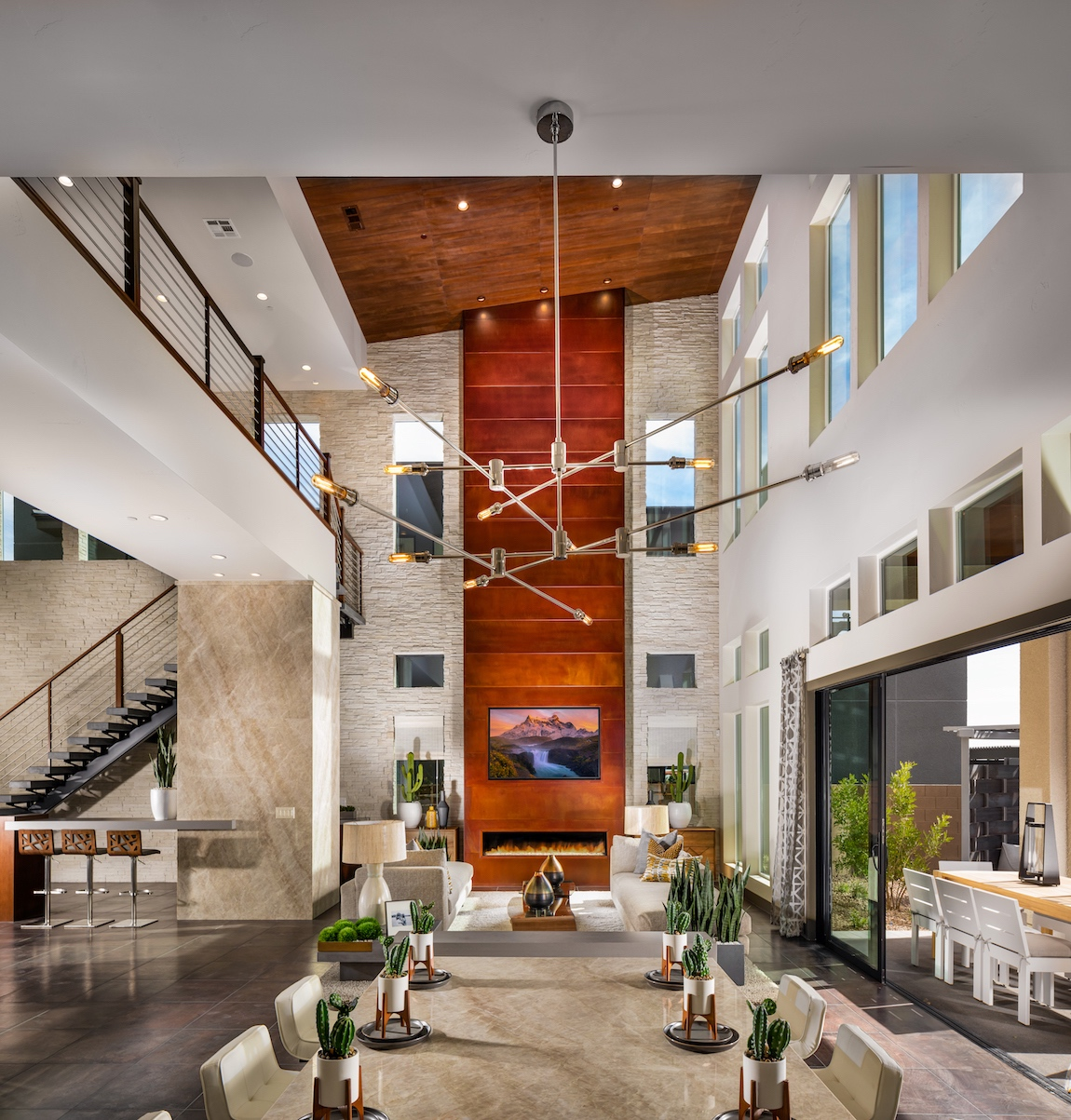 Great room with mid-century modern design