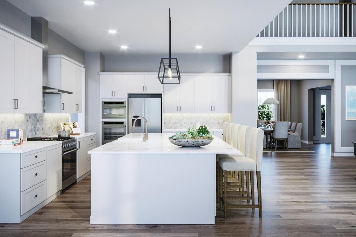 White quartz countertop on kitchen island in a luxury home