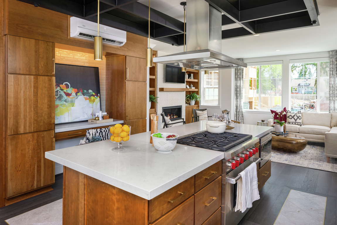 Modern townhome with London grey quartz countertop in the kitchen