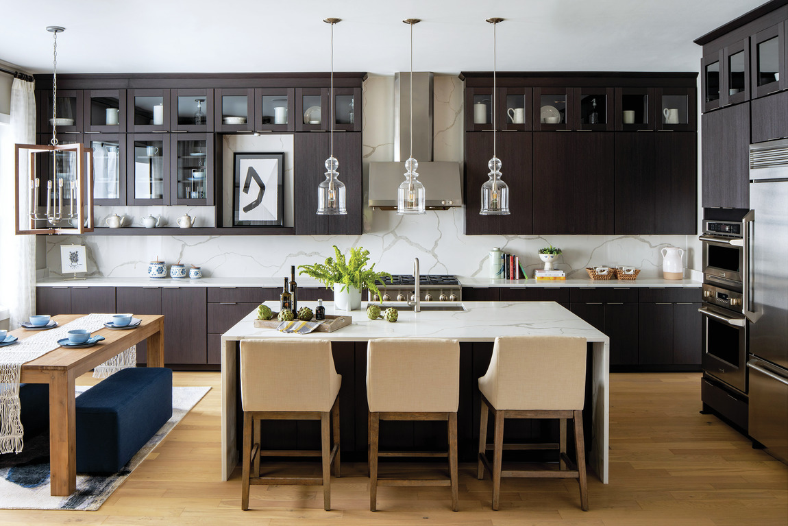 Modern kitchen with pendant LED lighting