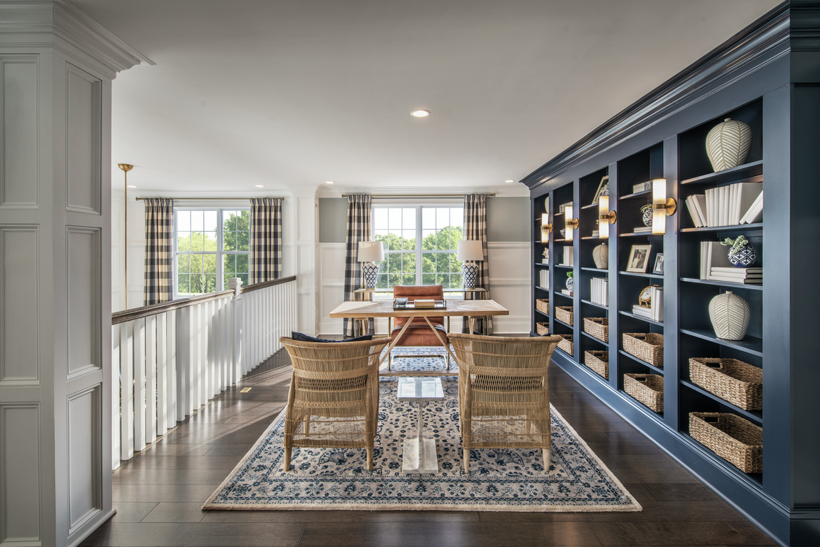 Loft space with grand bookcase