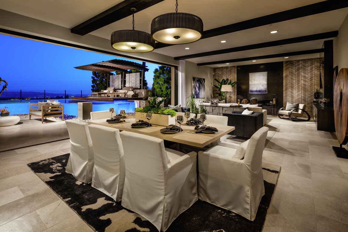 modern dining space and living room