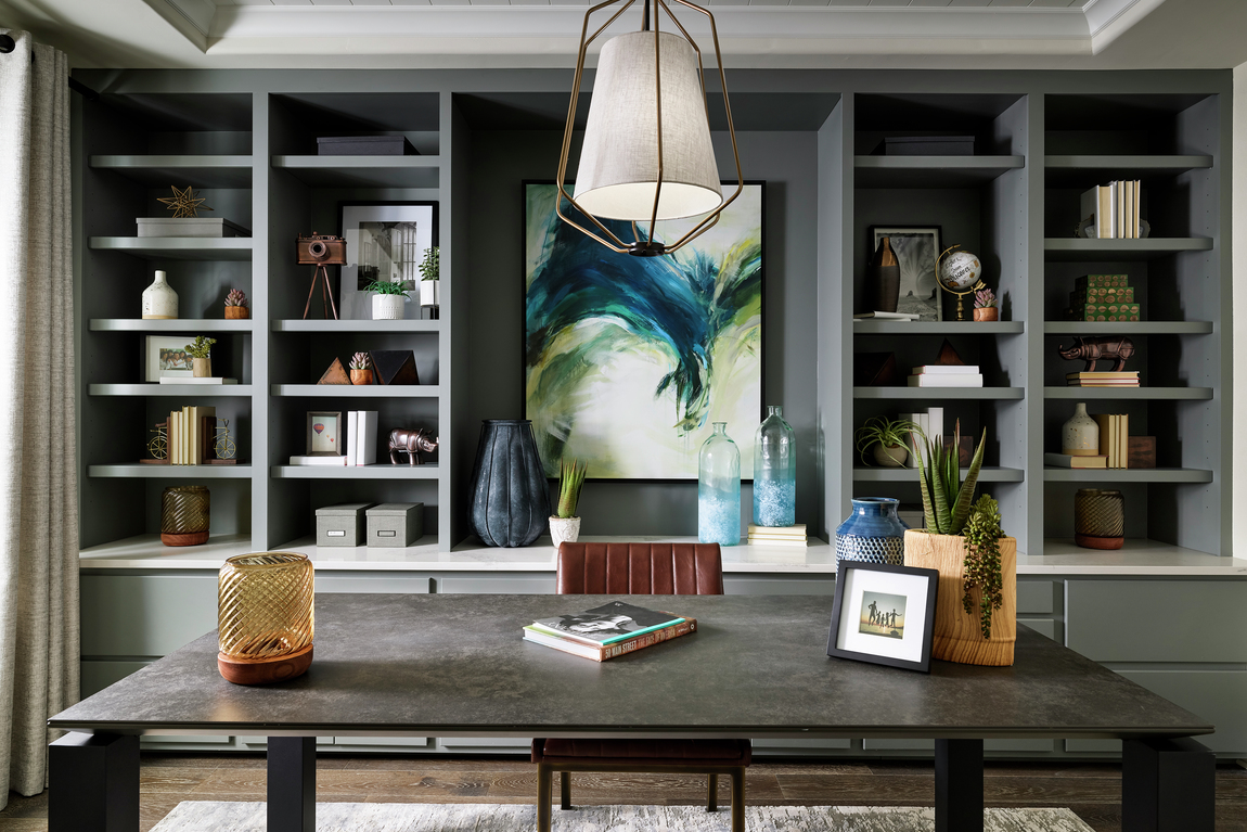 Home office with impressive focal art for the space
