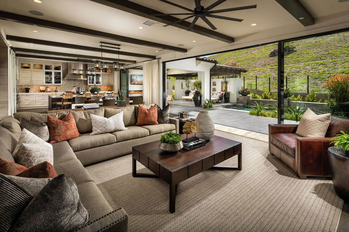Expansive interior design highlighted by long sliding glass wall