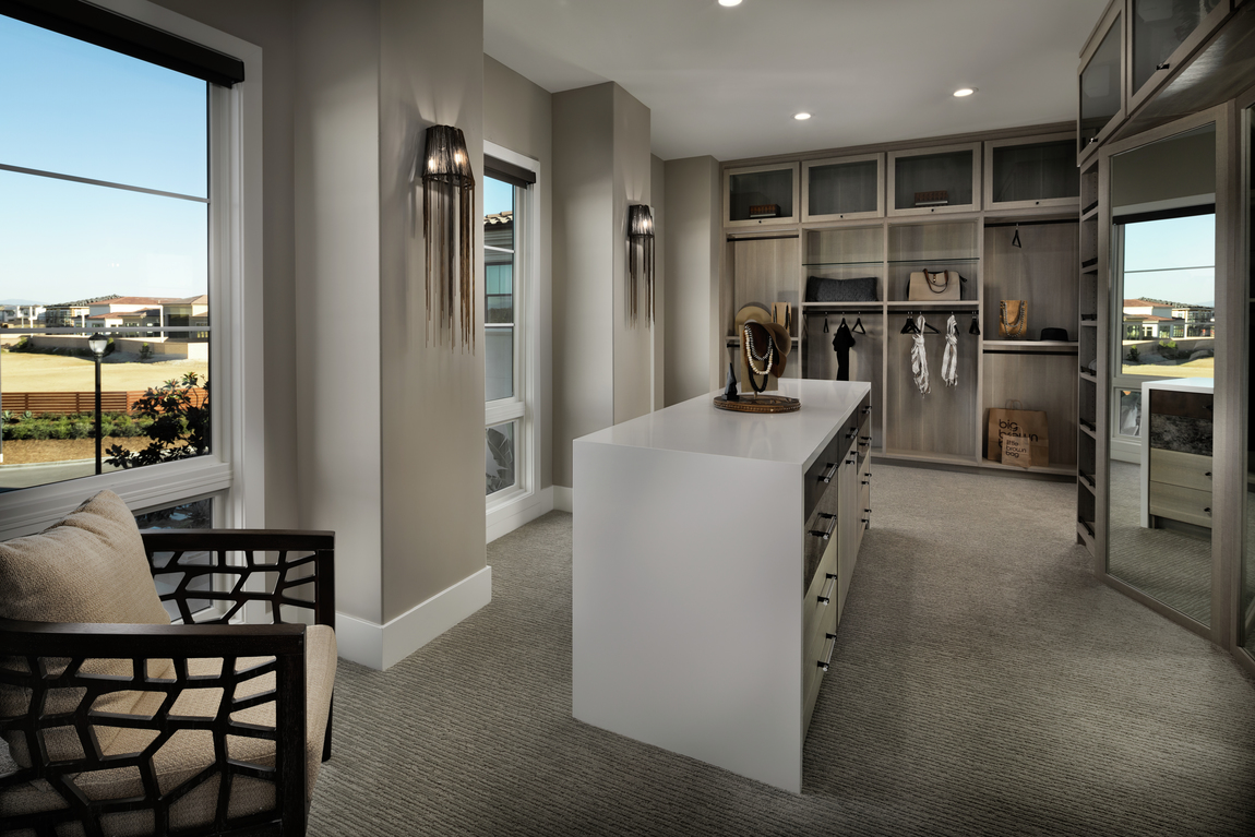 Large dual closet with center waterfall island, natural lighting, and brown closet finishes.