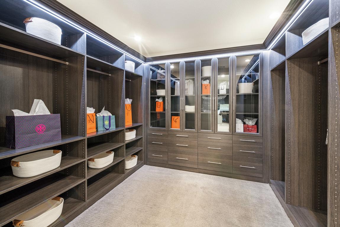 Dark wood closet with carpet flooring and shelving spotlights.