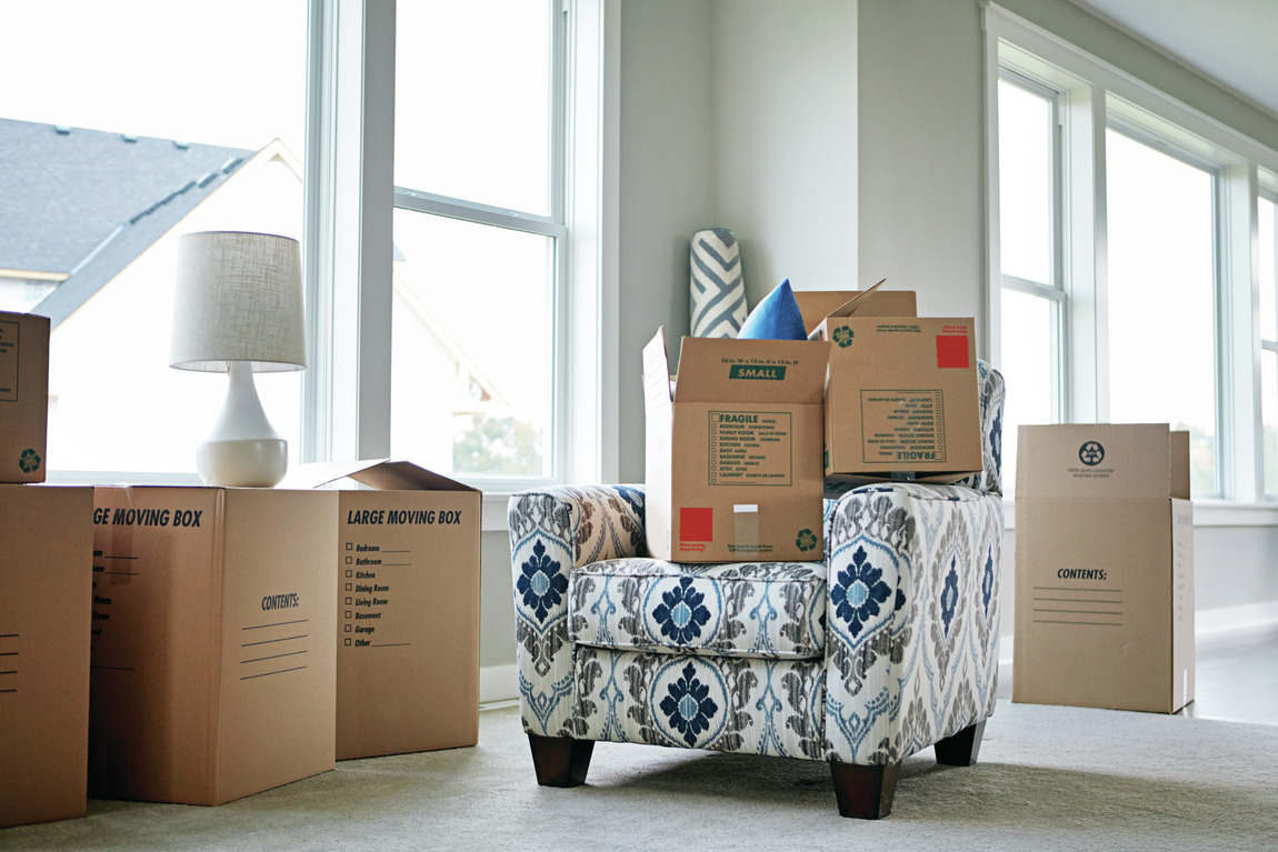 Cardboard boxes packed with items
