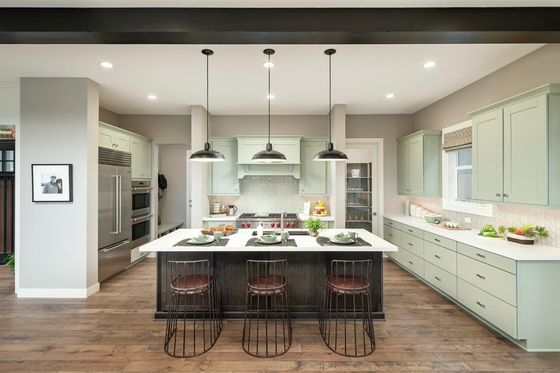 Modern farmhouse kitchen design with quartz countertops.