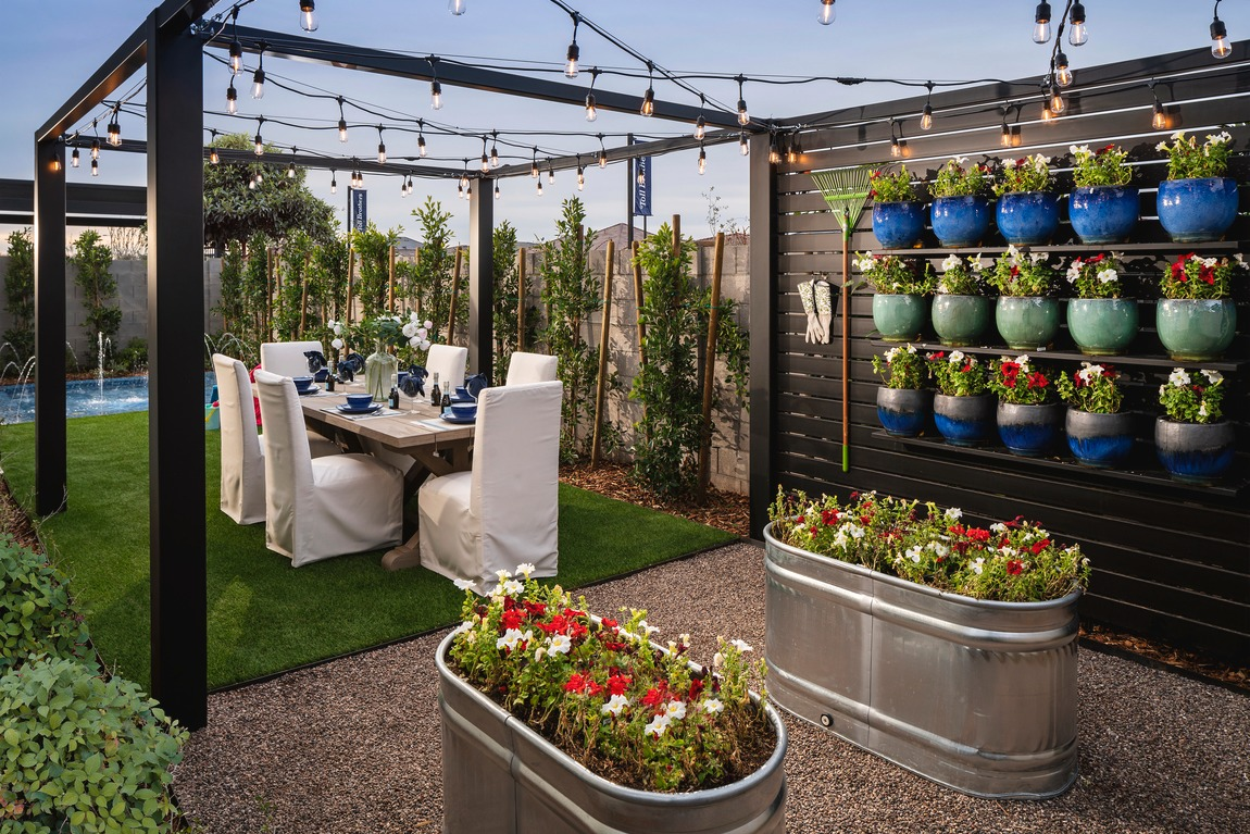 Garden dining with string lights