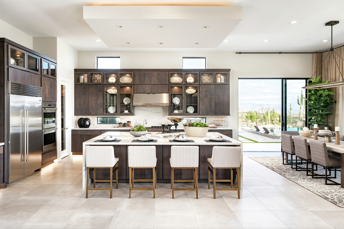 Spacious luxury kitchen with ample island seating.