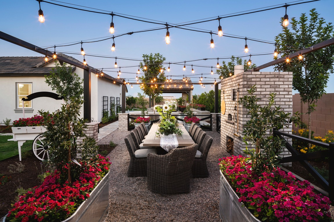 outdoor setting highlighted by string lights