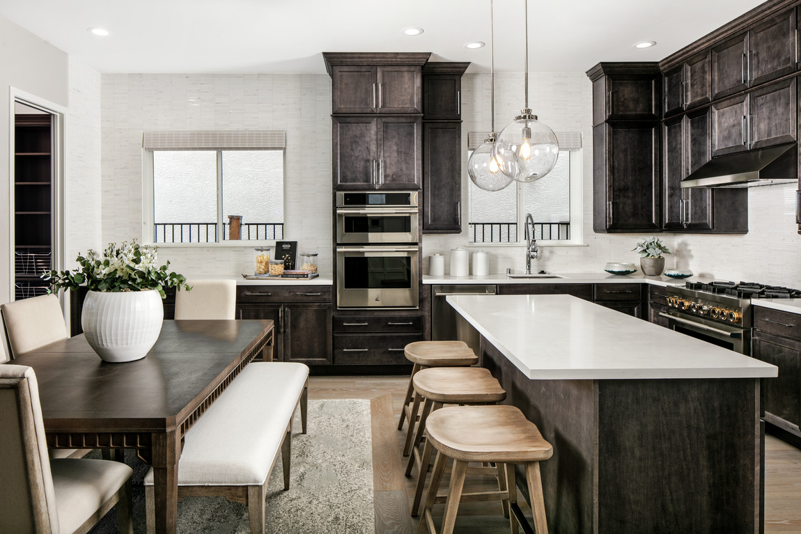 kitchen with luxurious texture and island seating