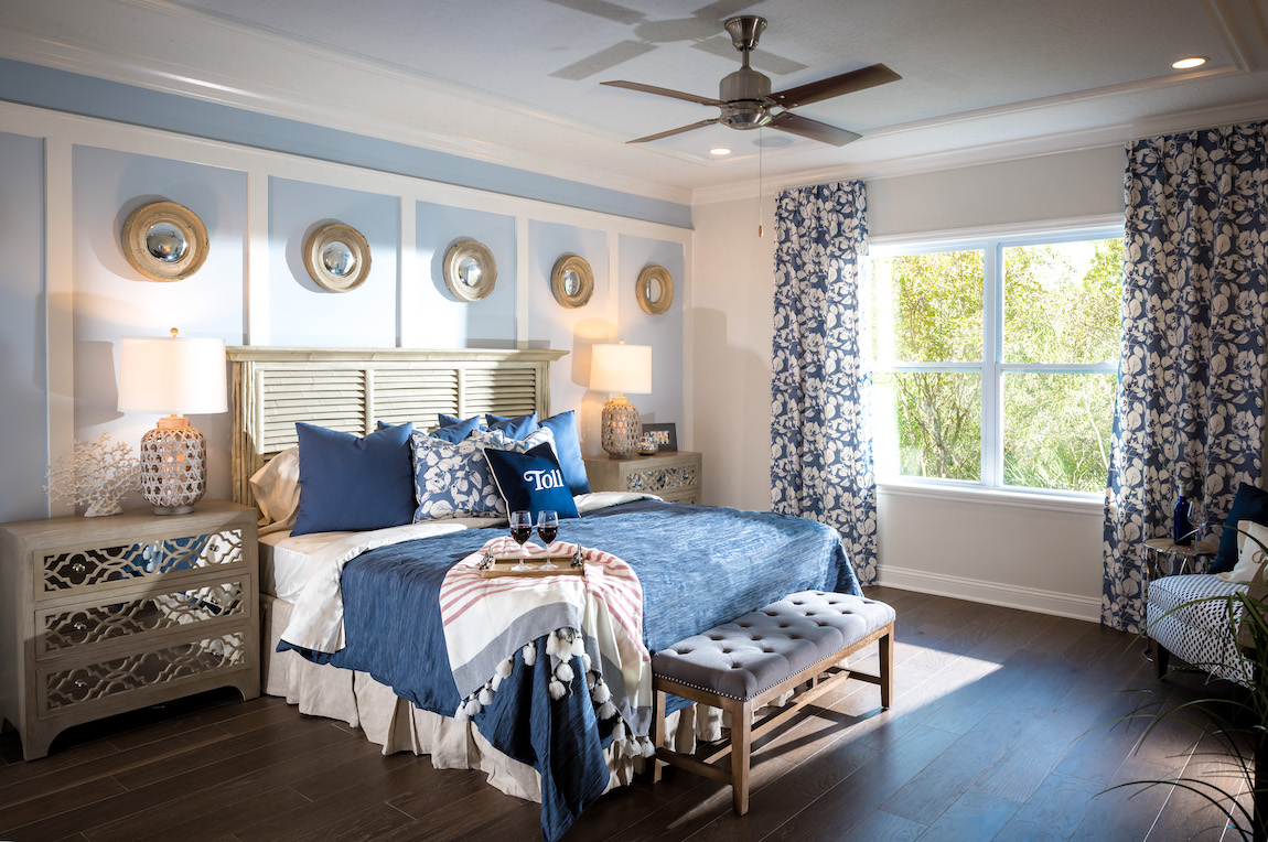 A coastal style bedroom with a blue color scheme and wooden features.