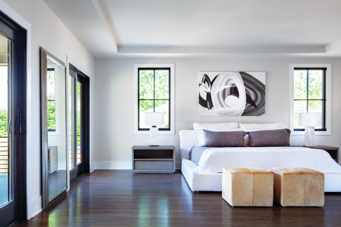 A minimalist bedroom in a luxury Toll Brothers home in Virginia.