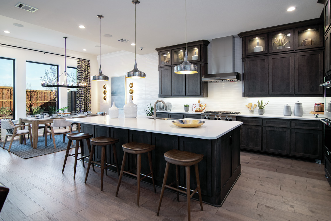 Dramatic kitchen with a bold island design.