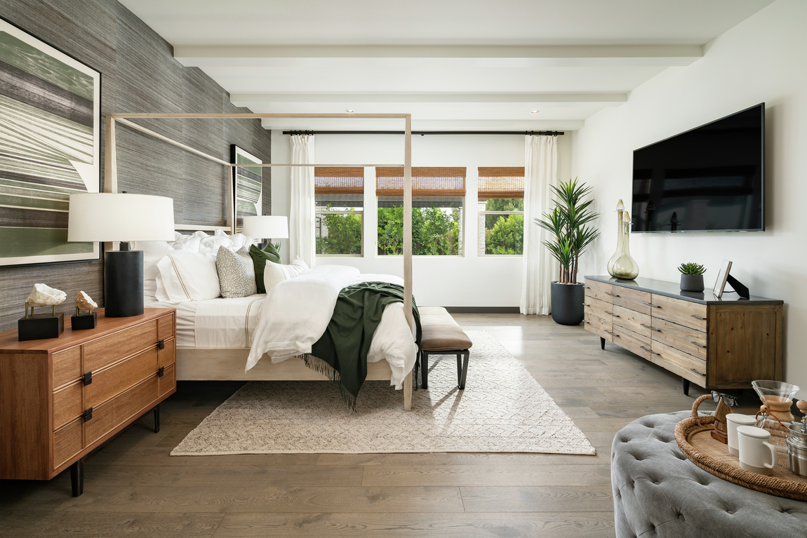 A minimalist and zen styled bedroom with clean and uncluttered décor.