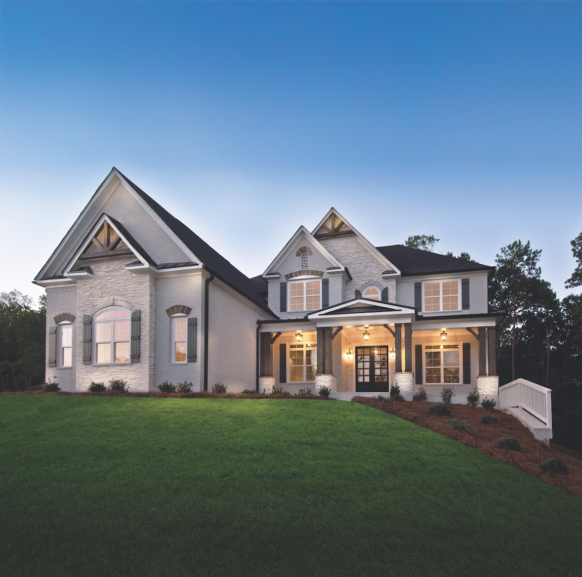 Toll Brothers model home in Georgia with porch lighting.