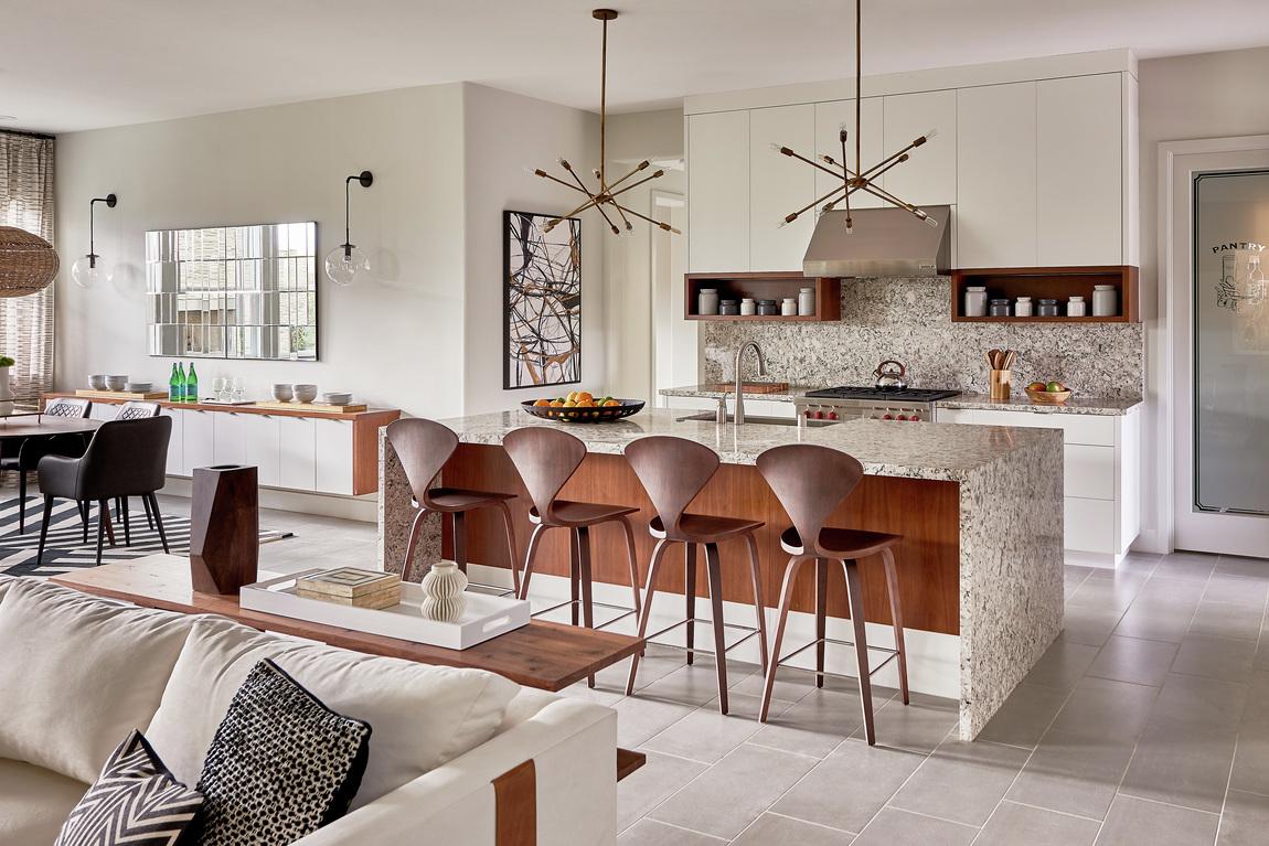 Granite waterfall countertop in modern kitchen