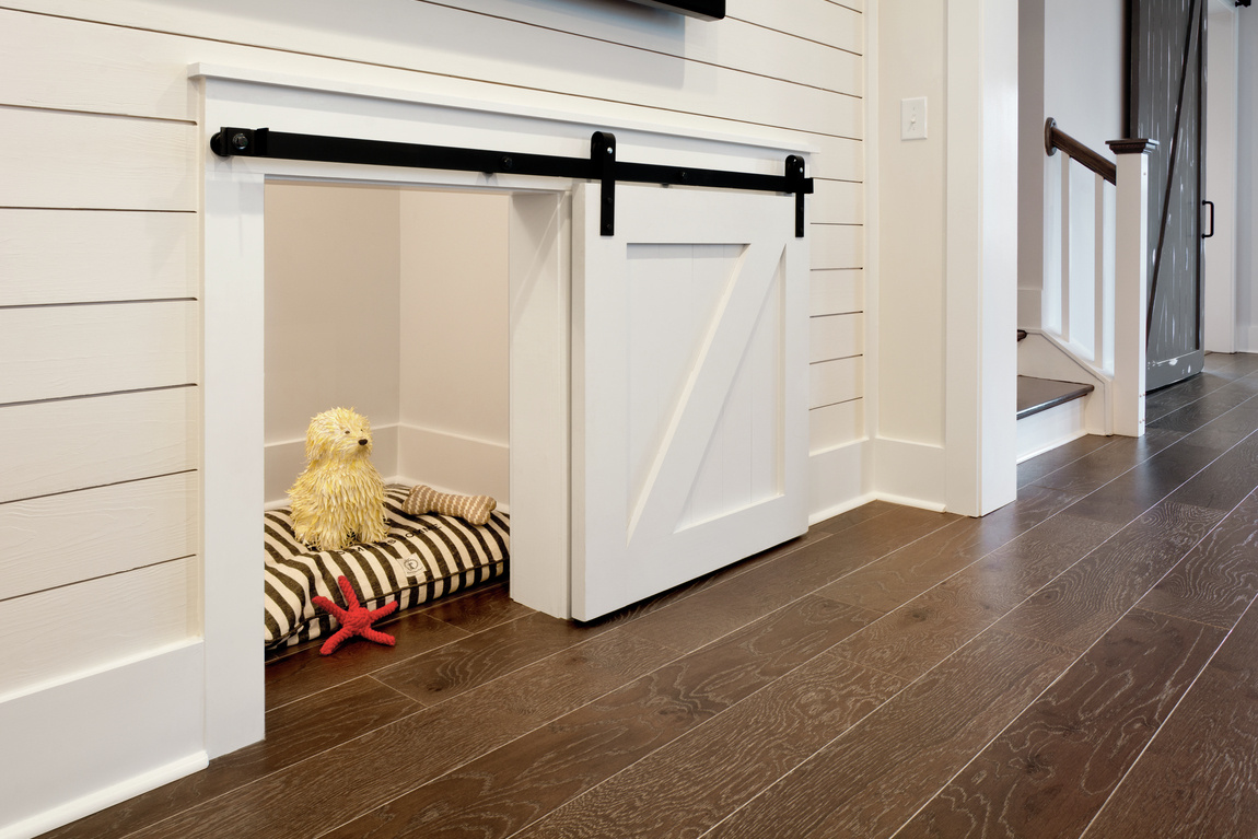 A small barn door used in a pet space.