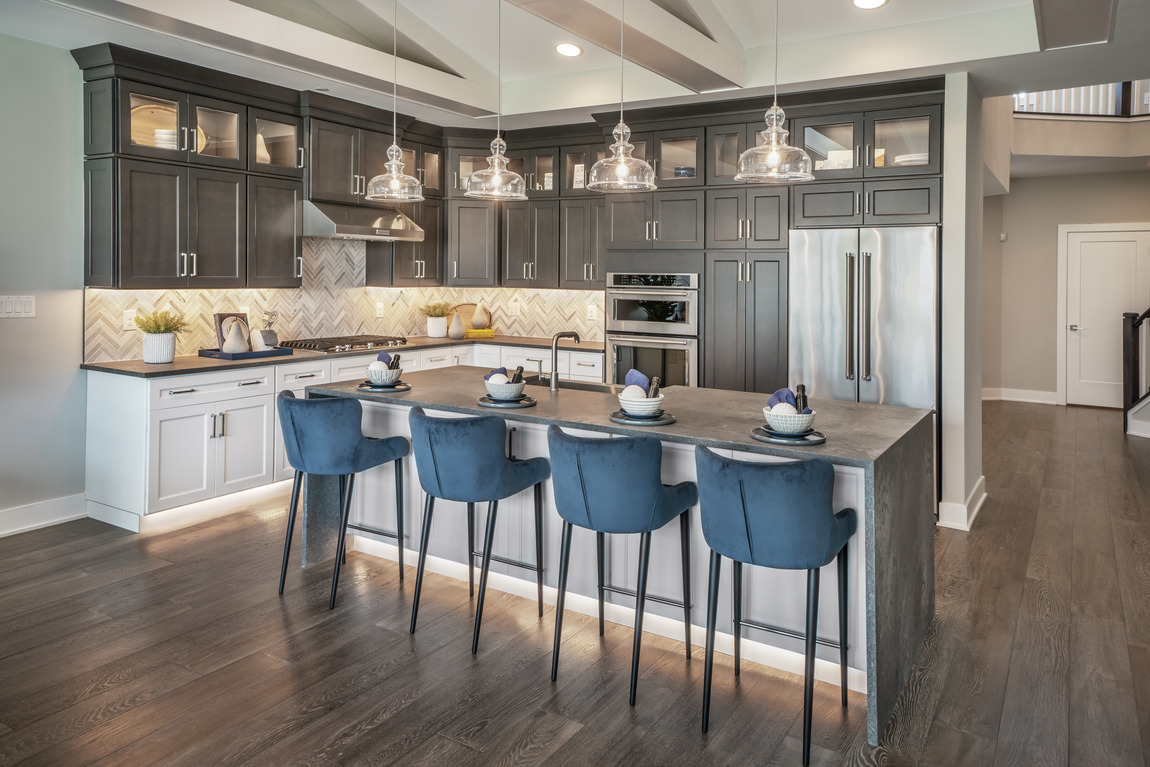 luxe kitchen with black cabinets